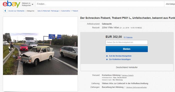 Schnecken-Trabi ebay Paderborn versteigert