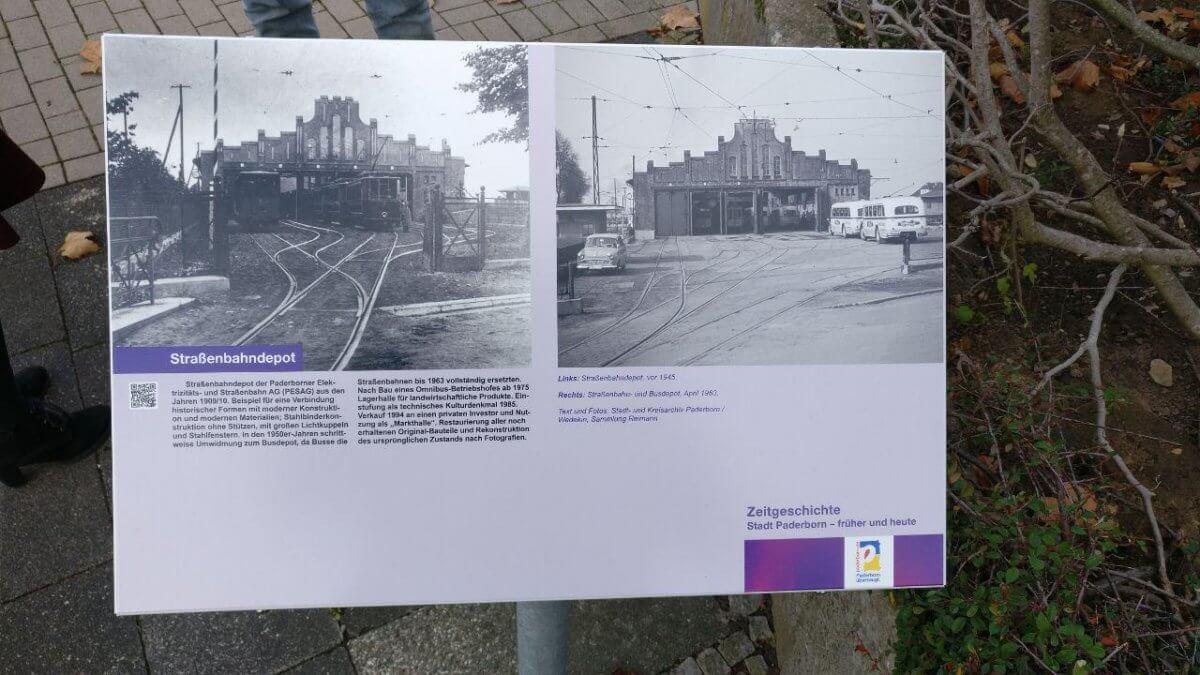 Gedenktafel oder Informationstafel für das Straßenbahndepot in Paderborn