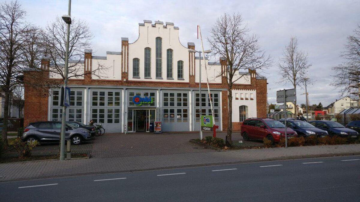 Das Straßenbahndepot in Paderborn - heute ein Combi-Markt
